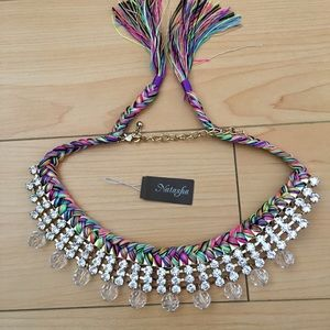 Natasha rhinestone and glass-bead rainbow necklace